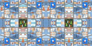 Gullig tecknad filmöversikt Sömlös modell av vinterstaden Arkivbilder