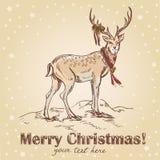 gullig tecknad retro handvykort för jul Royaltyfri Bild