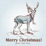 gullig tecknad retro handvykort för jul Arkivbild