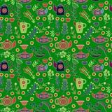 Gullig teservis Sömlös modell för färgrik vektor Fotografering för Bildbyråer
