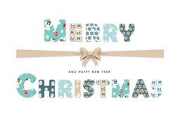 Gullig textilbokstäver för glad jul Arkivbild