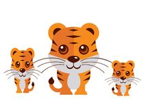 Gullig tigervektor på en vit bakgrund royaltyfri illustrationer