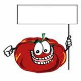 Gullig tomat- och för banerillustrationtecknad film teckningsfärgläggning Arkivfoto