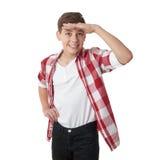 Gullig tonåringpojke över vit bakgrund Royaltyfri Bild