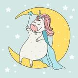 Gullig trollkarlenhörning med trollstavsammanträde på månen tecknad filmcommandertryckspruta hans illustrationsoldatstopwatch Klo Fotografering för Bildbyråer