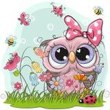 Gullig uggla med blommor och fjärilar Arkivfoton