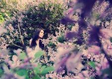 Gullig ung flicka i lilaträdgård Royaltyfri Fotografi