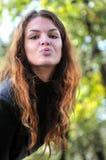 Gullig ung kvinna för brunett Fotografering för Bildbyråer