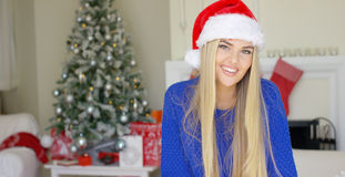 Gullig ung kvinna med den Santa Claus hatten Royaltyfria Foton
