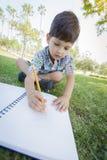 Gullig ung pojketeckning utomhus på gräset royaltyfria bilder