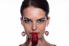 Jag gillar jordgubben Arkivfoto