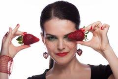 Jag gillar jordgubben Arkivbild