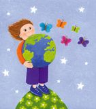 Gullig unge med ett jordklot vektor illustrationer