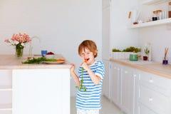 Gullig unge, pojke som äter den smakliga nya moroten i köket Royaltyfria Bilder