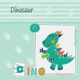 Gullig ungebakgrund med dinosaurien royaltyfri illustrationer