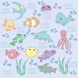 Gullig uppsättning av Kawaii havsvarelser royaltyfri illustrationer