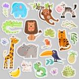 Gullig uppsättning av klistermärkear av safaridjur och blommor Savann och för tecknad filmklistermärke för safari roliga djur Rol vektor illustrationer