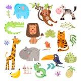 Gullig uppsättning av safaridjur och blommor Savann och roliga tecknad filmdjur för safari Uppsättning för djungeldjurvektor Krok vektor illustrationer