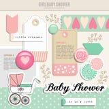 Gullig uppsättning av scrapbooking beståndsdelar för baby shower, Royaltyfri Bild
