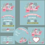 Gullig uppsättning för bröllopdesignmall med blommor Arkivbilder