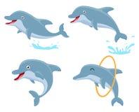 Gullig uppsättning för dolphinetecknad filmsamling royaltyfri illustrationer