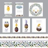 Gullig uppsättning för easter hälsningkort med chokladägg och sömlösa gränser Plan vektor stock illustrationer