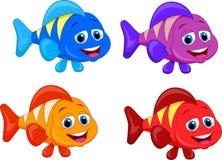 Gullig uppsättning för fisktecknad filmsamling Fotografering för Bildbyråer