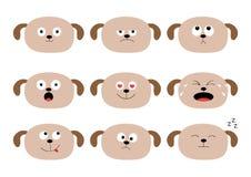Gullig uppsättning för hundhuvud roliga tecknad filmtecken Sinnesrörelsesamling Lyckligt förvånat, gråt, ledsen ilsken valp Vit b royaltyfri illustrationer