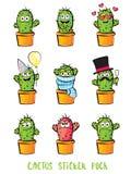 Gullig uppsättning för kaktustecknad filmtecken Emoji stock illustrationer