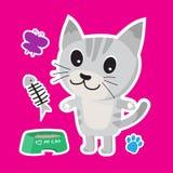 Gullig uppsättning för katttecknad filmklistermärke på blå bakgrund Arkivfoto