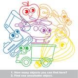 Gullig uppsättning för leksaktransportmischmasch i vektor royaltyfri illustrationer