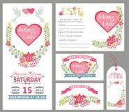 Gullig uppsättning för mall för bröllopkortdesign vektor för ro för illustration för bukettdekor blom- Arkivfoton