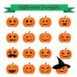 Gullig uppsättning för symboler för halloween pumpaemoji Emoticons klistermärkear, designelemets Royaltyfri Fotografi