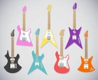 Gullig uppsättning för vektorgitarrillustrationer elektriska gitarrer vektor illustrationer