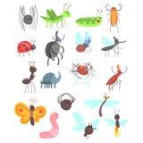 Gullig vänlig krypuppsättning med tecknad filmfel, skalbaggar, flugor, spindlar och andra små djur royaltyfri illustrationer