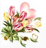 Gullig valentinbakgrund med rosa hjärta och realistisk tulpan f vektor illustrationer