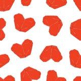 Gullig valentindagillustration Gifta sig den sömlösa modellen med origamihjärtor royaltyfri illustrationer