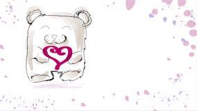 Gullig vattenfärgbjörn stock illustrationer