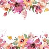 Gullig vattenfärgblommaram målad blom- hand för bakgrund inbjudan bröllop för abstraktionkortillustration kanin för födelsedagkor vektor illustrationer