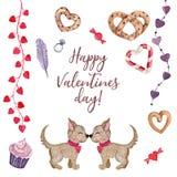 Gullig vattenfärguppsättning för valentin dag royaltyfri illustrationer