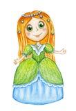 Gullig vattenfärgprinsessa Arkivbilder