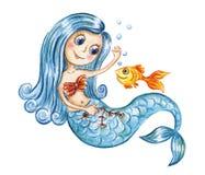 Gullig vattenfärgsjöjungfru och guld- fisk Arkivfoton