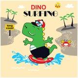 Gullig vektor för dinosauriesurfareillustration vektor illustrationer