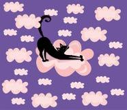 Gullig vektor, roligt, tecknad filmillustration, tryck med den svarta katten i den violetta bakgrunden för rosa moln royaltyfri illustrationer
