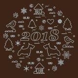 Gullig vektorillustration av det olik nya året och julsym vektor illustrationer