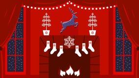 Gullig vektorillustration av hemtrevligt inre rum med spisen och stora fönster i elegant jul och klassiska traditioner för nytt å stock illustrationer