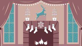Gullig vektorillustration av hemtrevligt inre rum med spisen och stora fönster i elegant jul och klassiska traditioner för nytt å royaltyfri illustrationer