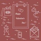 Gullig vektorillustration: kalender med den Valentine's dagen, gåvor royaltyfri illustrationer