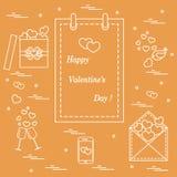 Gullig vektorillustration: kalender med den Valentine's dagen, gåvor vektor illustrationer