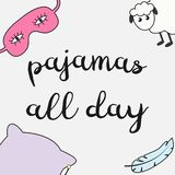 Gullig vektorillustration med den roliga sova maskeringen, får, fjädern, kudden och inskriften 'pyjamas hela dagen ', royaltyfri illustrationer